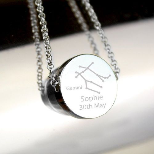 Gemini Zodiac Star Sign Silver Tone Necklace (May 21st - June 20th)